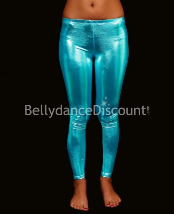 Metallic light blue Bellydance leggings
