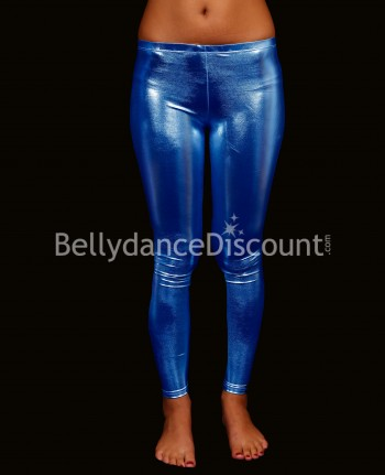 Leggings metallizzati blu scuro di danza del ventre
