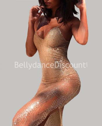 Kleid halbtransparent mit Pailletten in Gold