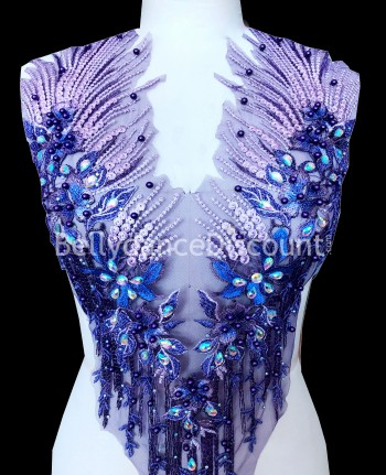 Purple strass and beads sew on neck applique