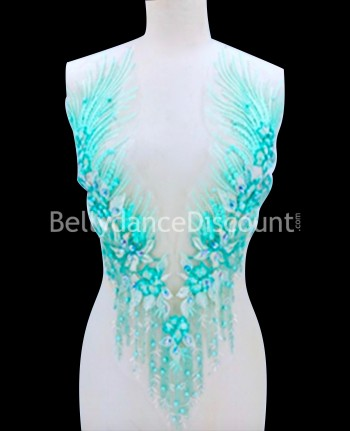 Aqua strass and beads sew on neck applique
