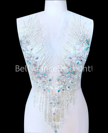 Silvery white strass and beads sew on neck applique