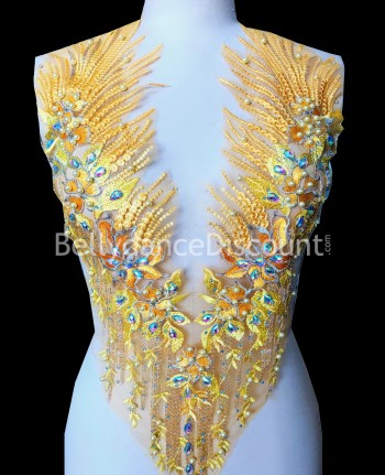 Yellow strass and beads sew on neck applique