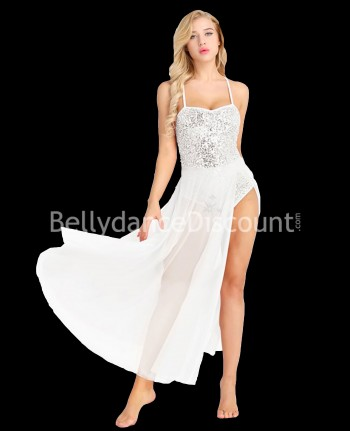 Glittery white dance leotard dress