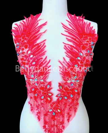 Red strass and beads sew on neck applique