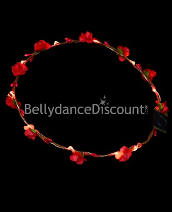 Light up red flower headband