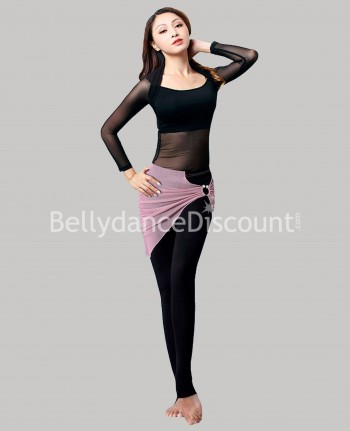 Bi-material outfit for dance classes red