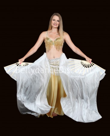 Pure silk white belly dance fans