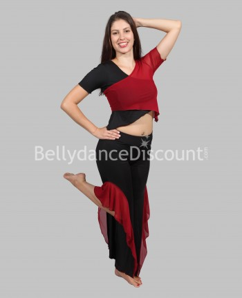 Black burgundy 3-piece dance outfit