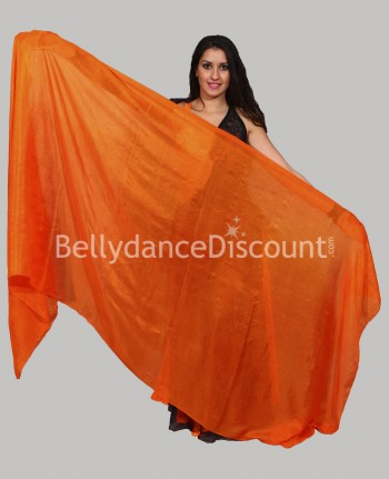 Voile rectangulaire orange de danse orientale en pure soie (Second choix)
