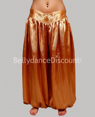 Pantalon de danse orientale et Bollywood satin or