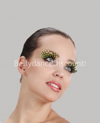 Pair of yellow leopard feathers fake eyelashes