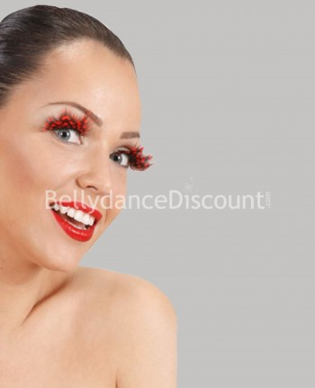 Pair of red leopard feathers fake eyelashes