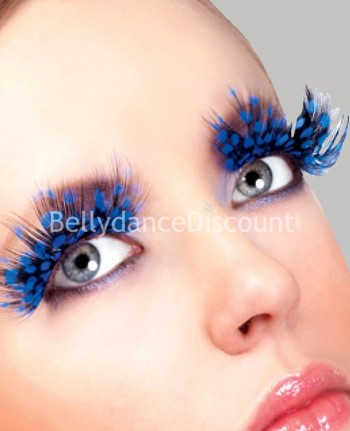 Pair of dark blue leopard feathers fake eyelashes