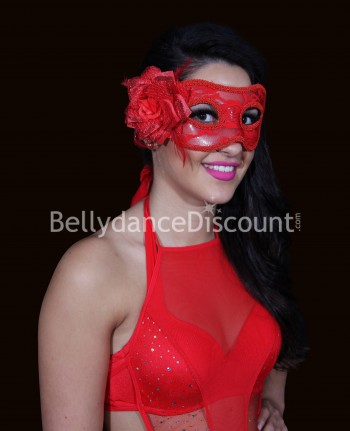 Red flower and lace mask