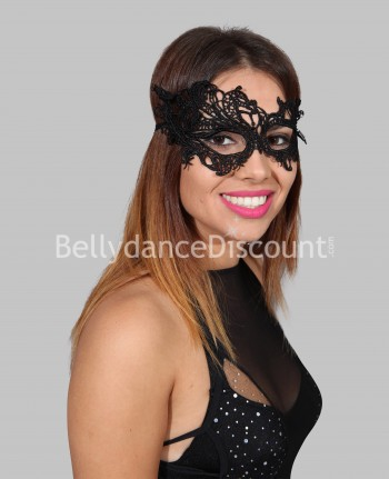 Black embroidered mask
