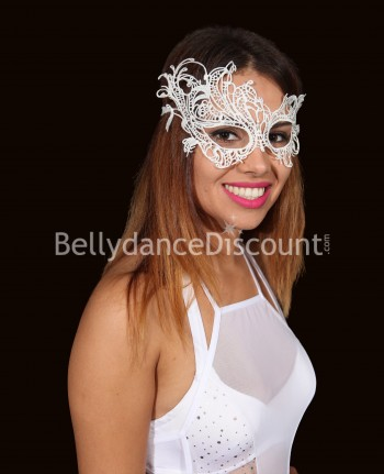 White embroidered mask
