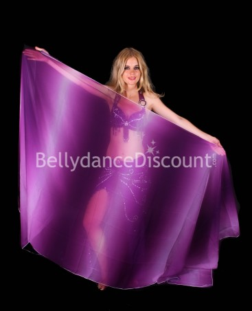 Rectangular Bellydance veil a gradation of purple