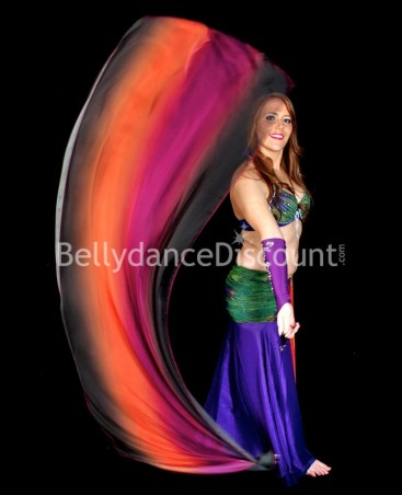 Bellydance Poi Veil black dark purple orange