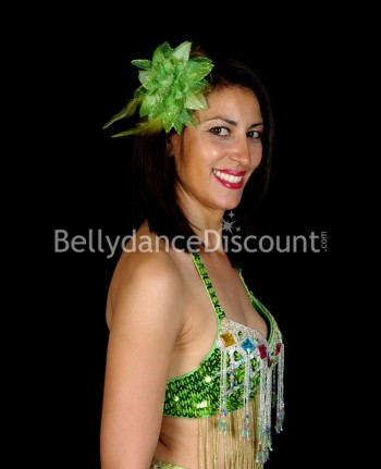 Green oriental dance hairpiece