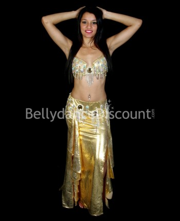 Costume de danse orientale brillant or