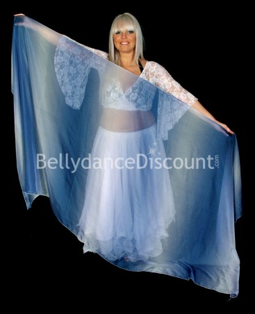 Rectangular Bellydance veil a gradation of dark blue
