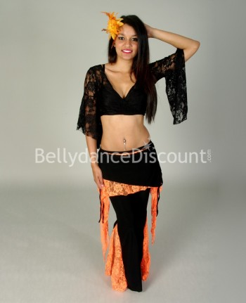 Black lace dance top