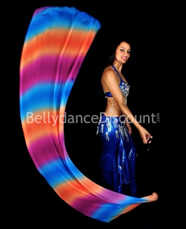Bellydance Poi Veil blue orange dark purple