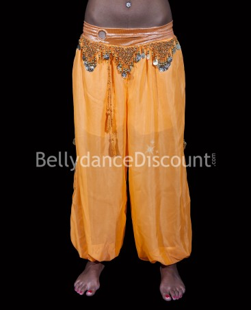 Pantalon large de danse orientale orange