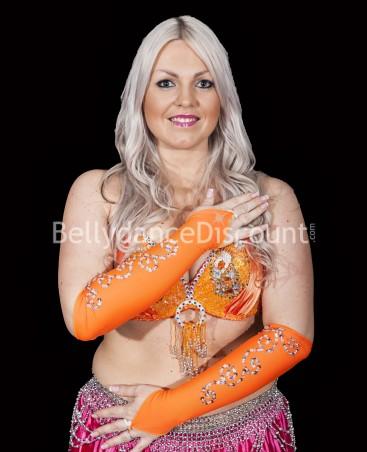 Lycra Bellydance sleeves orange