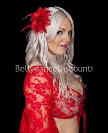 Red oriental dance hairpiece