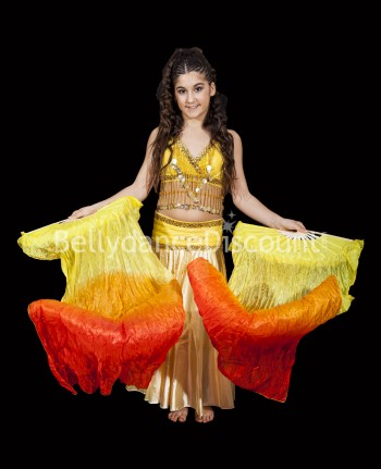 Eventails enfant de danse orientale jaune orange rouge
