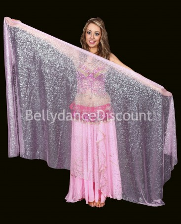 Light pink rectangular  oriental dance veil