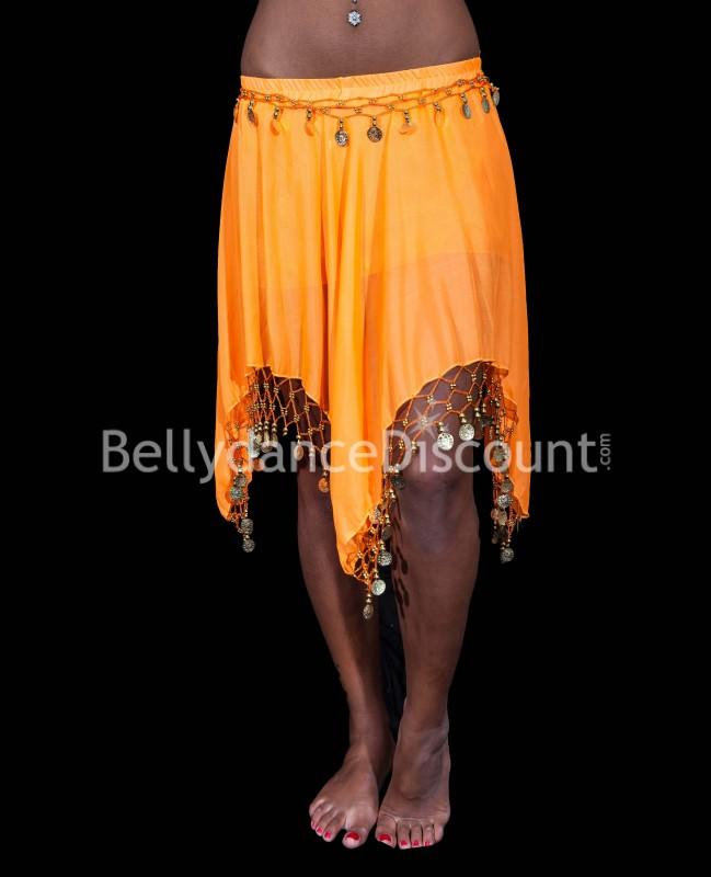 Orange belly dance short skirt