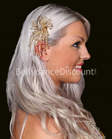 Ornement cheveux or et strass