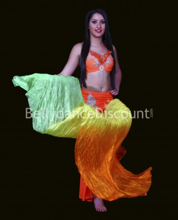 Eventail main gauche de danse orientale vert jaune orange