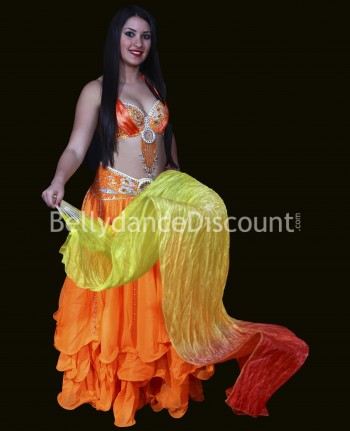 Eventail main gauche de danse orientale jaune orange rouge