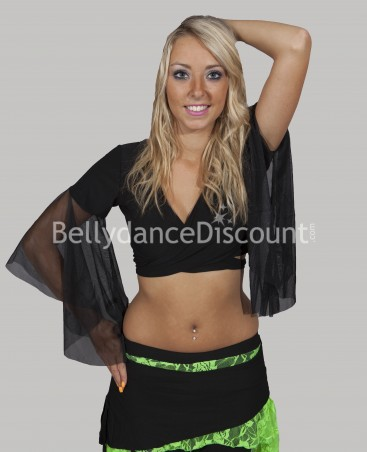 Black wrap-over dance top