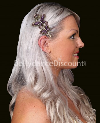 Purple oriental dance hair slide