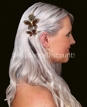 Brown oriental dance hair slide