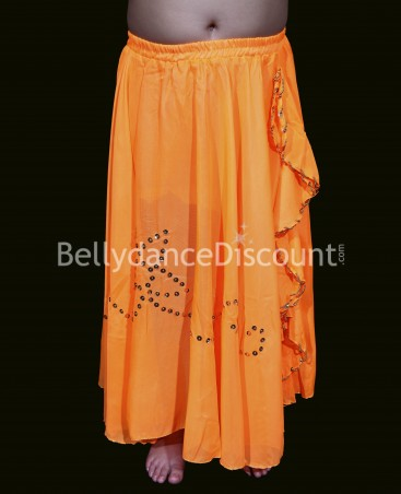 Jupe enfant de danse orientale fendue orange