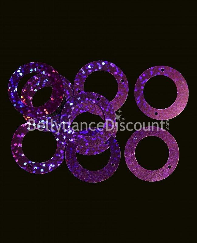 Pack of 100 purple glittery paillettes to sew.