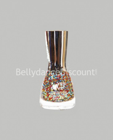 Vernis à ongles pailleté multicolore