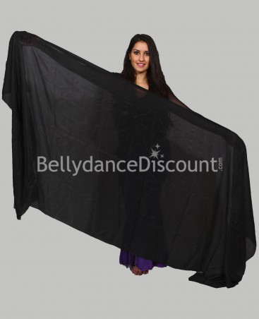 Black rectangular  pure silk oriental dance veil
