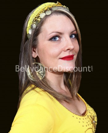 Yellow oriental dance hairband