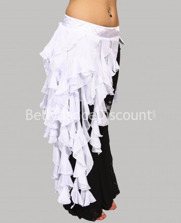 White drooping belt for belly dance