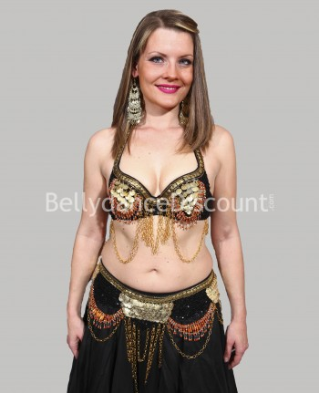 Black and gold tribal bellydance bra + belt set