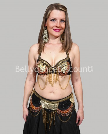 Coordinated black belly dance bra + belt set