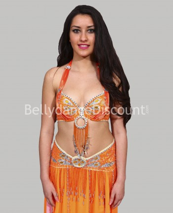 Coordinated orange belly dance bra + belt set