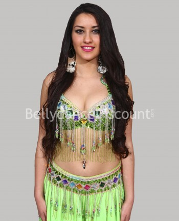 Coordinated green belly dance bra + belt set